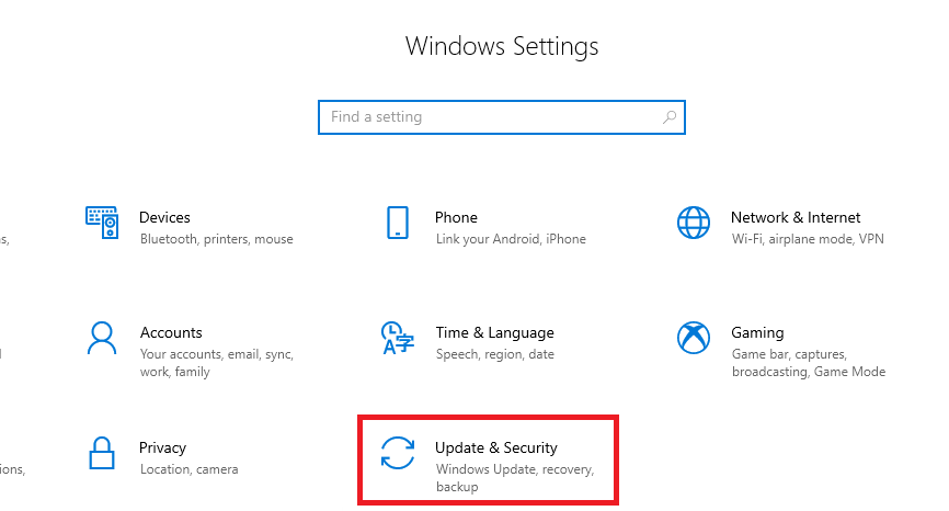 click on 'Update & Security'