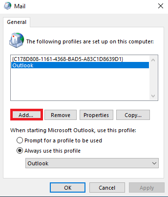 click the 'Add' button to create a new profile