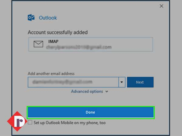 "click on the ""Done"" button to start accessing your Yahoo Mail account in Outlook"